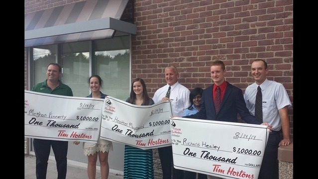 Tim Horton's Awards Scholarships to Four Rochester Students