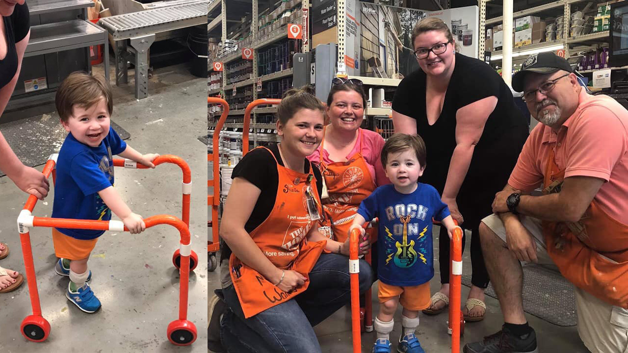 Home Depot Employees Build Walker For Boy With Hypotonia
